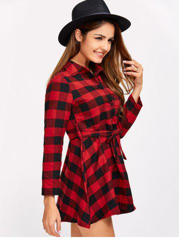 Store Buttoned Plaid Flannel Long Sleeve Shirt Dress - L RED Mobile