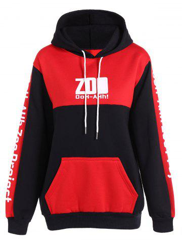 New Colo Block Drawstring Letter Hoodie