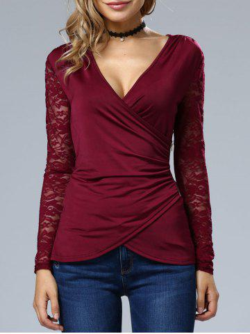 Shops Sleeve Lace Wrap Top WINE RED XL