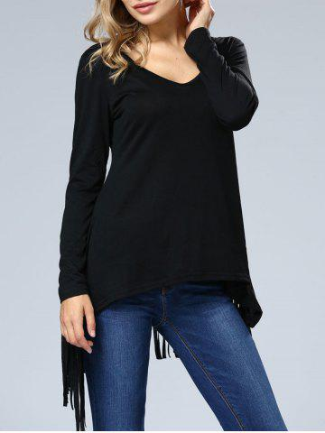 Outfits Fringe Hem Long Sleeve Tee BLACK XL