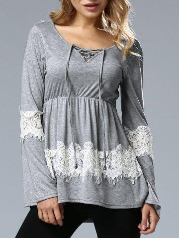 Hot Long Sleeve Lace Up Top GRAY XL