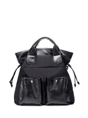 Shop Splicing Drawstring Double Pocket Tote Bag