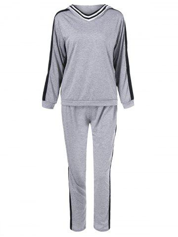 Loose Hoodie With Pants Sport Suit - Gray - Xl