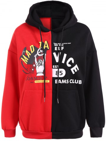 Latest Drawstring Letter Print Contrast Hoodie RED ONE SIZE