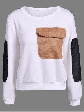 Online Contrast Pocket Embellished Sweatshirt