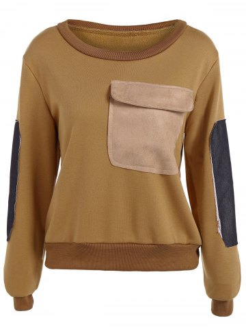 Contrast Pocket Embellished Sweatshirt - Khaki - M