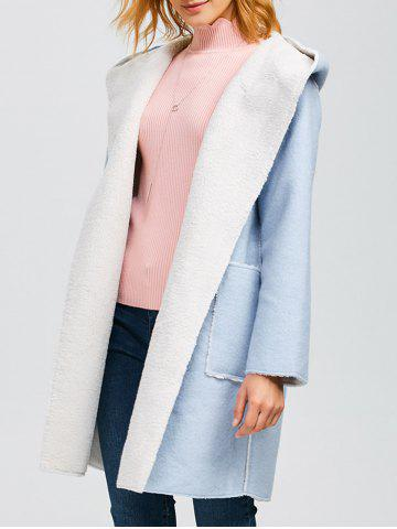 Cheap Hooded Faux Shearling Lined Wrtap Coat
