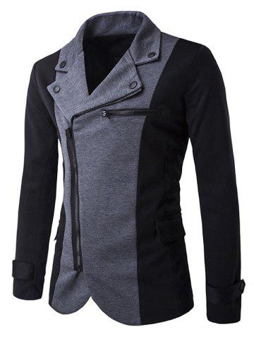 Cheap Turndown Collar Zipper Design Color Block Spliced Jacket DEEP GRAY 2XL