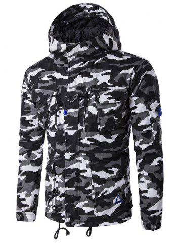 Chic Hooded Camouflage Multi Pockets Jacket - 2XL BLACK Mobile