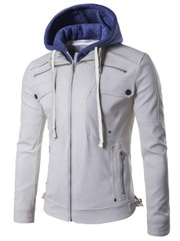 Discount Faux Twinset Hooded Zipper Design PU Leather Jacket