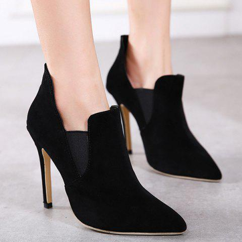 Unique Pointed Toe Elastic Panel Ankle Boots