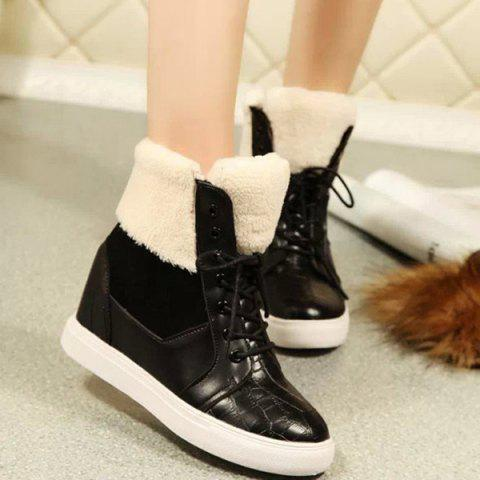 Fashion Lace Up Fuzzy Hidden Wedge Boots
