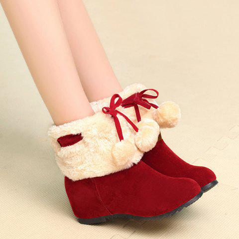 Fancy Fuzzy Pompon Hidden Wedge Short Boots RED 39