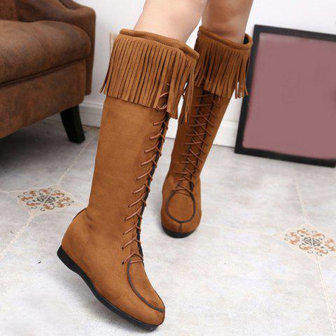 Discount Lace Up Fringe Suede Mid Calf Boots