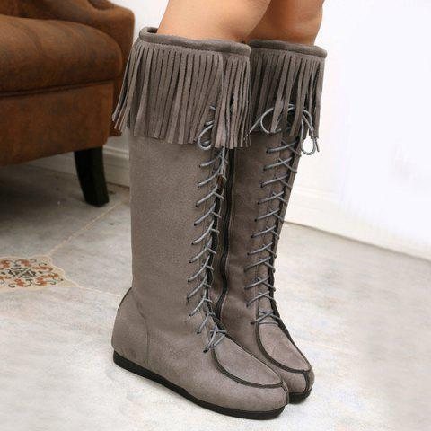 Lace Up Fringe Suede Mid Calf Boots - Gray - 40