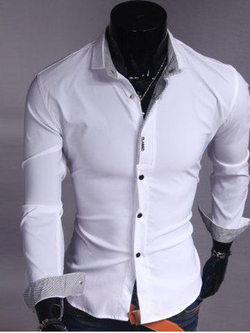 Trendy Turndown Collar Stripe Spliced Shirt WHITE 2XL