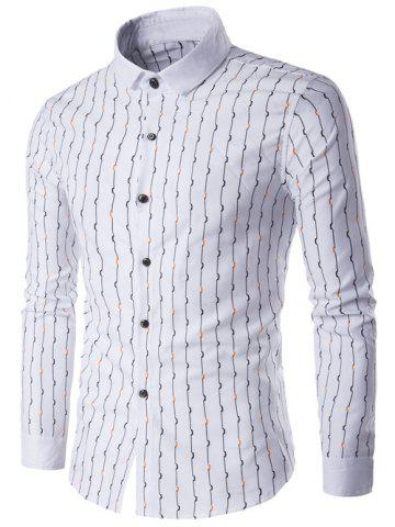 Buy Turndown Collar Vetical Wave Line Print Long Sleeve Shirt
