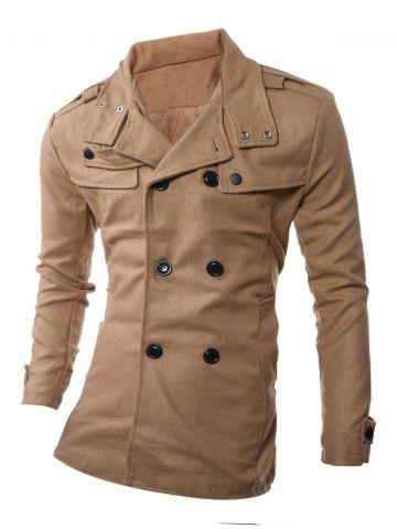Shop Turndown Collar Epaulet Embellished Double Breasted Woolen Coat CAMEL 2XL