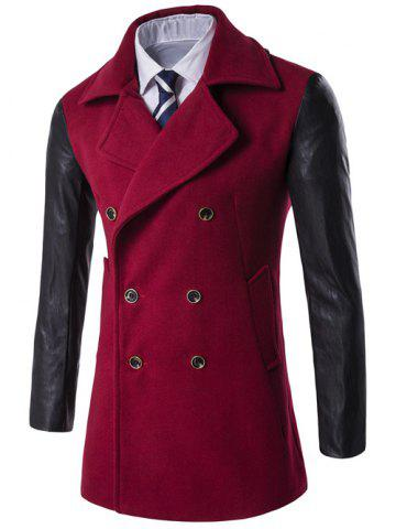 Chic Turndown Collar Double Breasted PU-Leather Spliced Coat RED 3XL