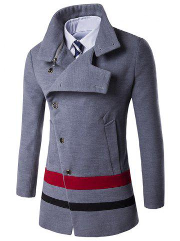 Discount Turndown Collar Oblique Single Breasted Stirpe Wool Coat GRAY 3XL