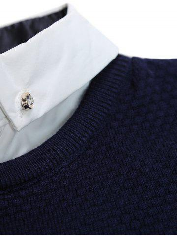 New Faux Twinset Shirt Collar Color Block Stripe Spliced Knitting Sweater - 2XL CADETBLUE Mobile