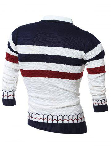 Outfits Faux Twinset Shirt Collar Color Block Stripe Spliced Knitting Sweater - 2XL CADETBLUE Mobile