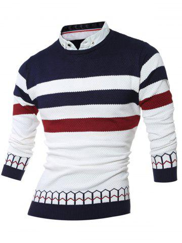 Faux Twinset Shirt Collar Color Block Stripe Spliced Knitting Sweater - CADETBLUE 2XL