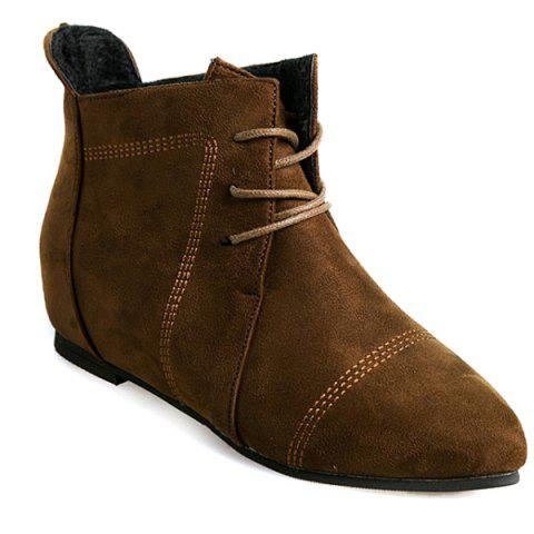 Latest Suede Point Toe Ankle Boots DEEP BROWN 39
