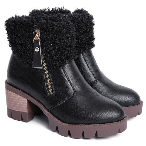 Trendy Side Zip Faux Fur Chunky Heel Ankle Boots BLACK 39