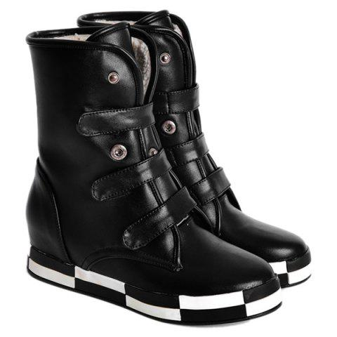 Outfit PU Leather Increased Internal Ankle Boots BLACK 39