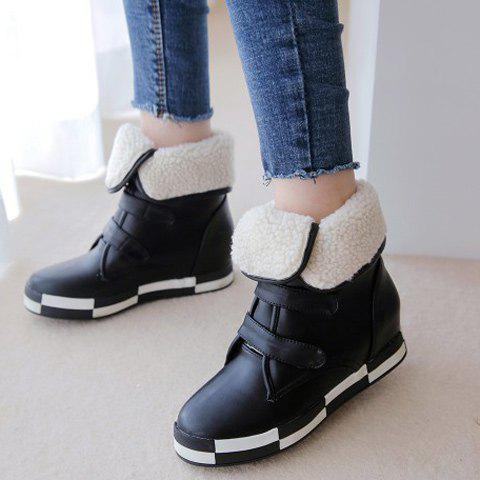 Fancy PU Leather Increased Internal Ankle Boots - 38 BLACK Mobile