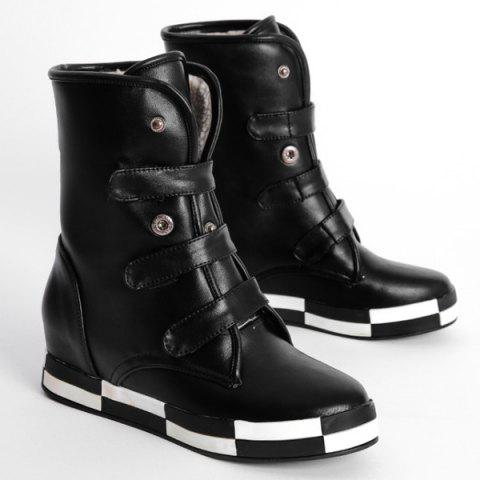 Store PU Leather Increased Internal Ankle Boots - 38 BLACK Mobile