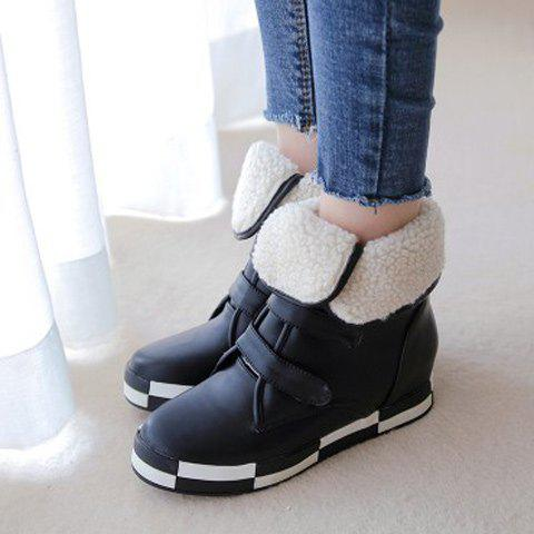 Affordable PU Leather Increased Internal Ankle Boots - 38 BLACK Mobile