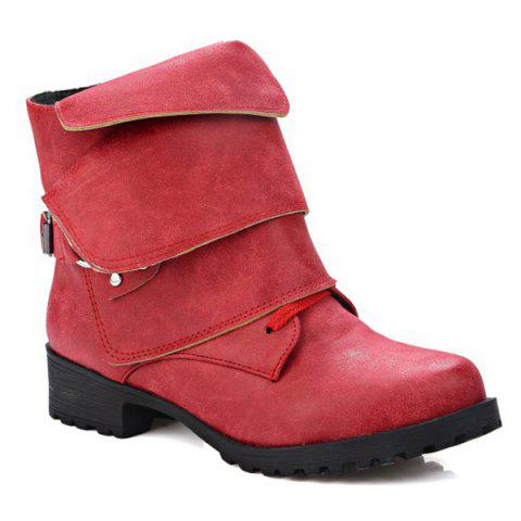 Discount Metallic Buckle Fold Over Ankle Boots RED 39