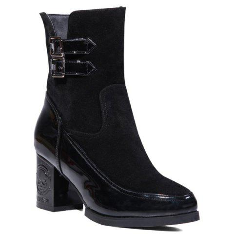 Hot Side Zip Chunky Heel Buckle Ankle Boots BLACK 39