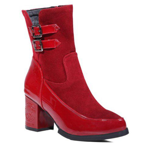 Side Zip Chunky Heel Buckle Ankle Boots - Wine Red - 37