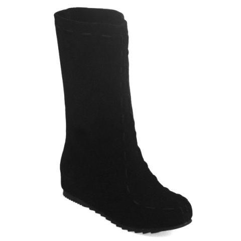Trendy Criss Cross Back Suede Mid Calf Boots BLACK 39