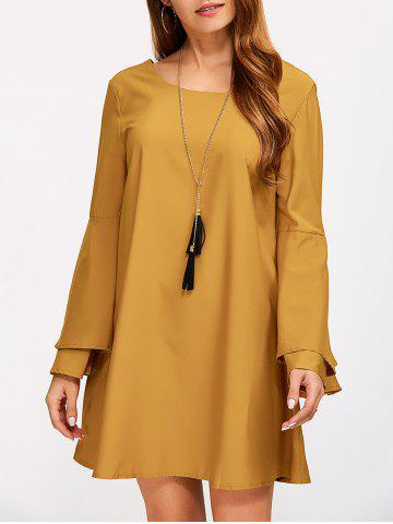 Criss Cross Long Bell Sleeve Tunic Dress - Earthy - Xl