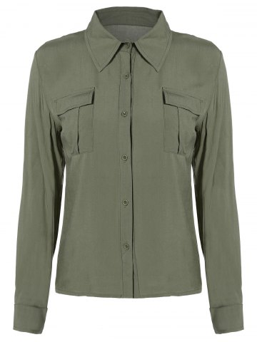 Affordable Button Up Epaulet Shirt with Pocket
