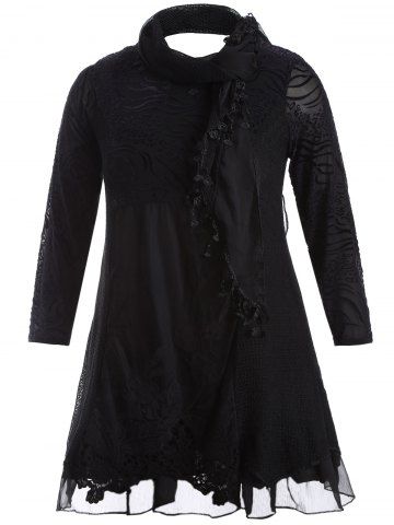 Scarf Lace Splicing Plus Size Dress - Black - L