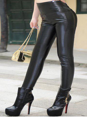 Discount Plus Size High Waist PU Leather Pants
