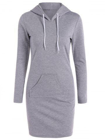 Outfit Casual Long Sleeve Hooded Sweatshirt Dress GRAY XL