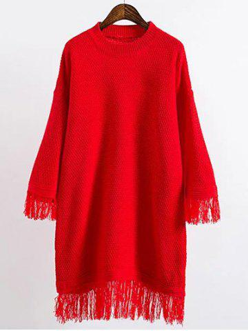 Chic Long Sleeve Mini Slouchy Jumper Dress with Fringe RED ONE SIZE