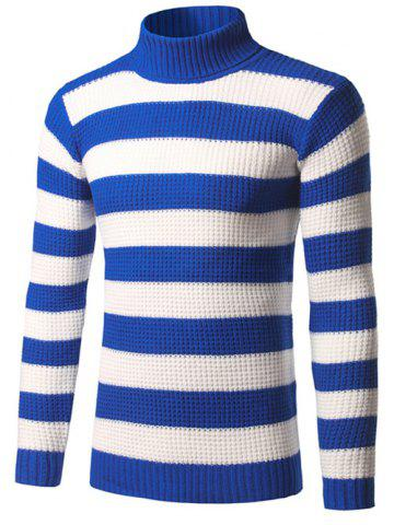 Affordable Turtleneck Striped Texture Sweater ROYAL 3XL