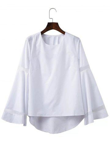 Buy Mesh Spliced High Low Flare Sleeve Blouse