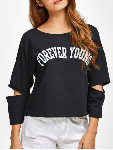 Affordable Cut Out Forever Young T-Shirt BLACK 2XL