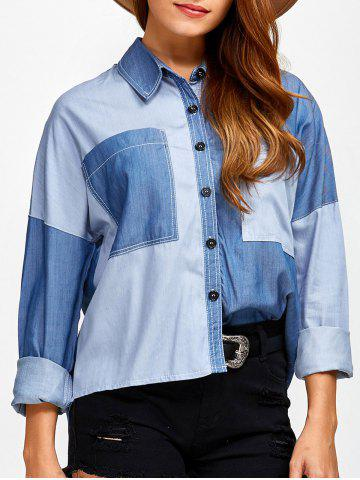 Color Block Pockets Patched Chambray Shirt - Denim Blue - M