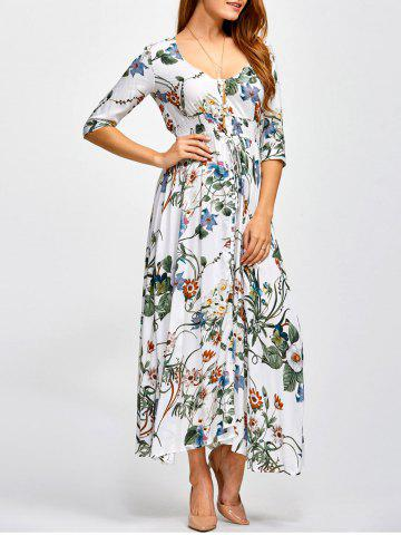Trendy Plunging Neck Long Printed Shirred Maxi Dress FLORAL 2XL