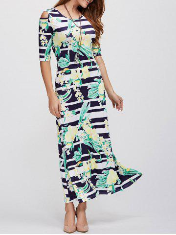 Chic Cold Shoulder Long Striped Print Maxi Dress BLACK XL