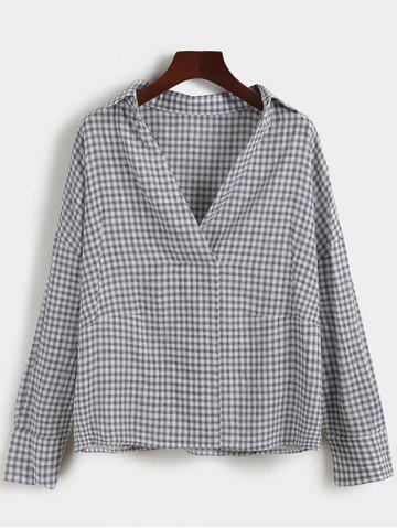 Cheap Pullover Drop Shoulder Gingham Shirt BLACK ONE SIZE